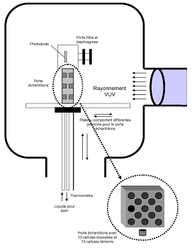 Scheme of the exposition device of the molecules inside the CBM irradiation chamber